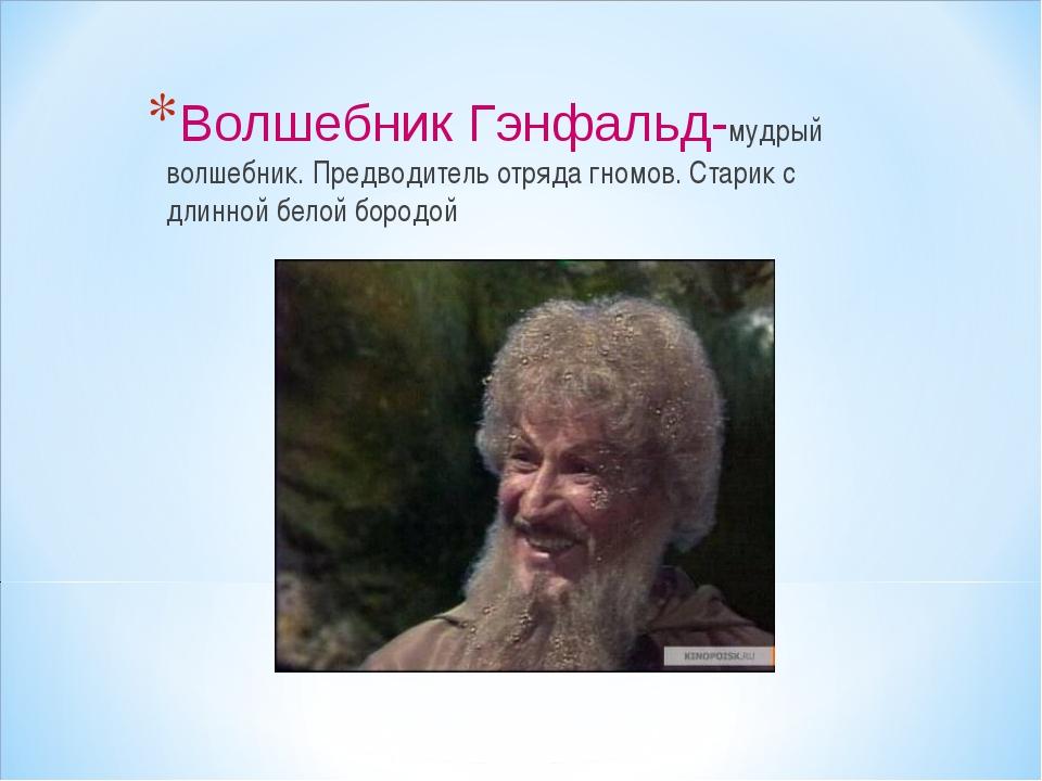 Волшебник Гэнфальд-мудрый волшебник. Предводитель отряда гномов. Старик с дли...