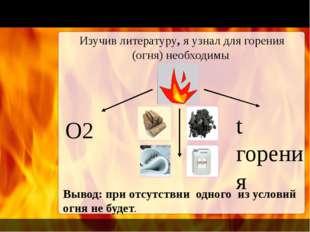 Изучив литературу, я узнал для горения (огня) необходимы О2 t горения Вывод: