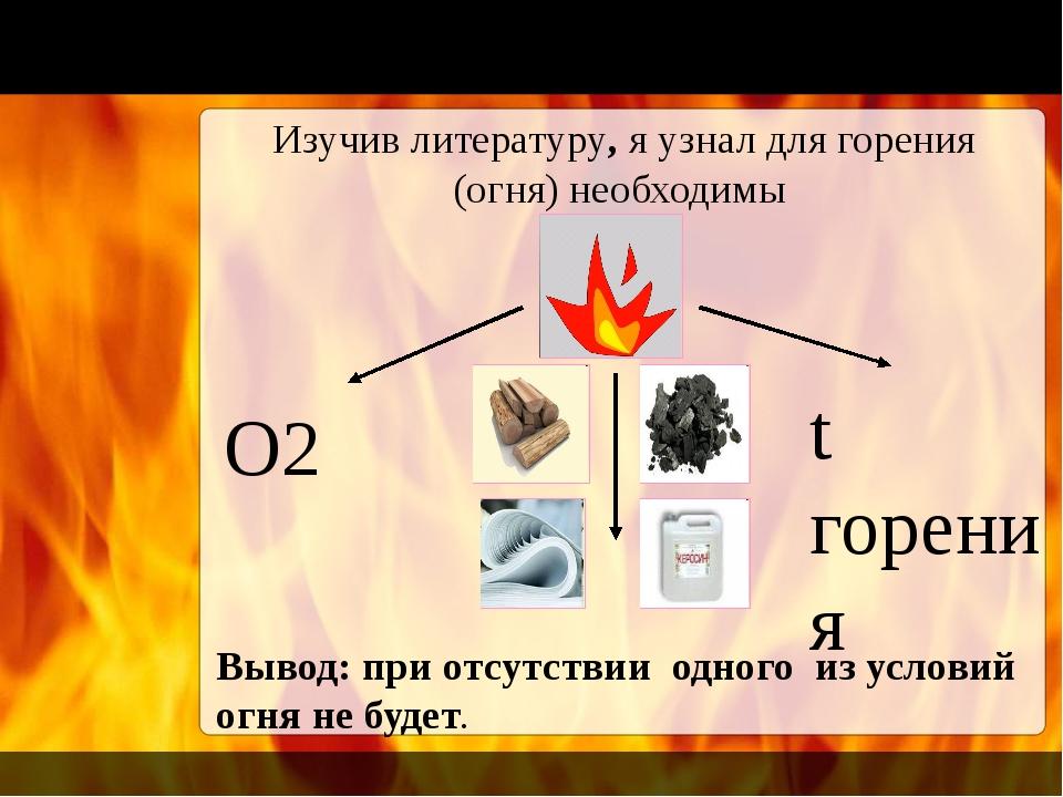 Изучив литературу, я узнал для горения (огня) необходимы О2 t горения Вывод:...