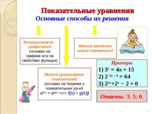 Основные способы их решения Метод уравнивания показателей (основан на теореме