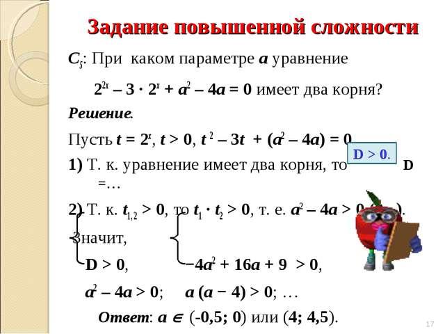 Задание повышенной сложности С5: При каком параметре а уравнение 22х – 3 ∙ 2х...