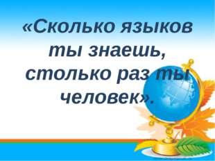 «Сколько языков ты знаешь, столько раз ты человек».