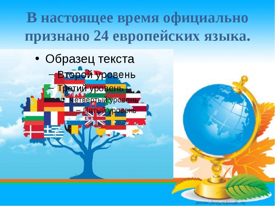 В настоящее время официально признано 24 европейских языка.