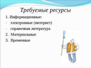 Требуемые ресурсы 1. Информационные: электронные (интернет) справочная литера