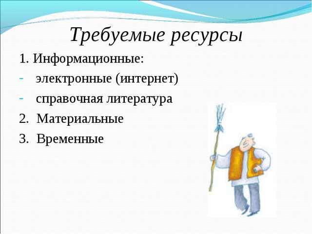 Требуемые ресурсы 1. Информационные: электронные (интернет) справочная литера...
