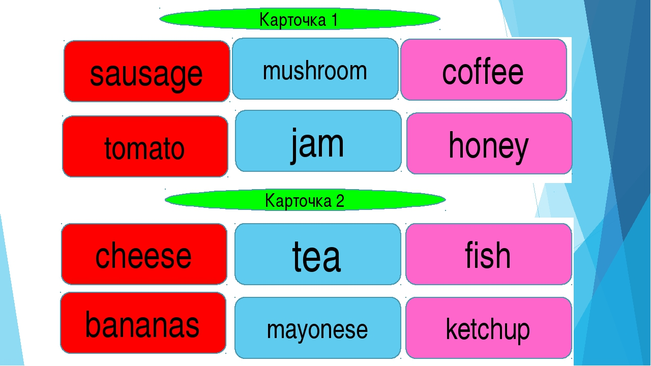 Карточка 1 Карточка 2 sausage tomato mushroom jam honey coffee fish tea chees...