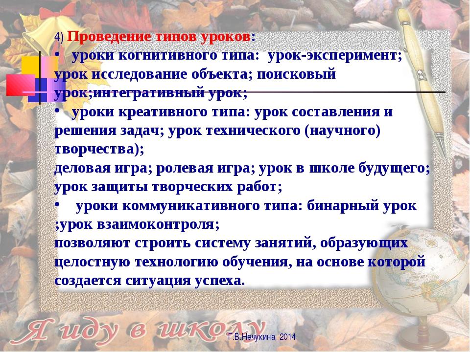 Г.В.Нечукина, 2014 4) Проведение типов уроков: уроки когнитивного типа: урок-...