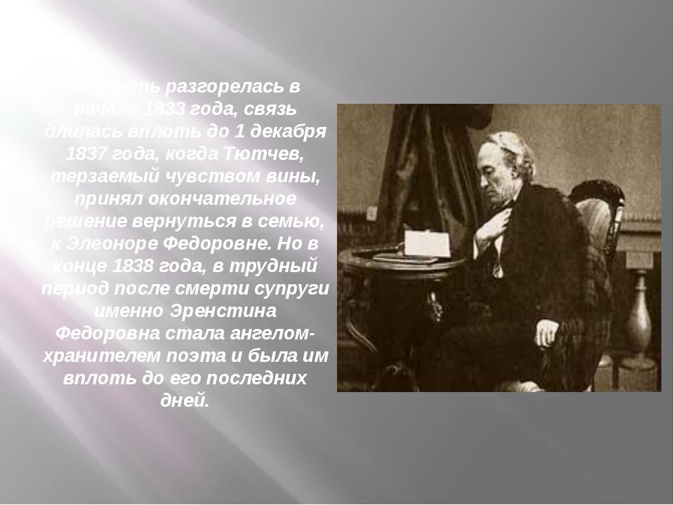 Страсть разгорелась в начале 1833 года, связь длилась вплоть до 1 декабря 183...