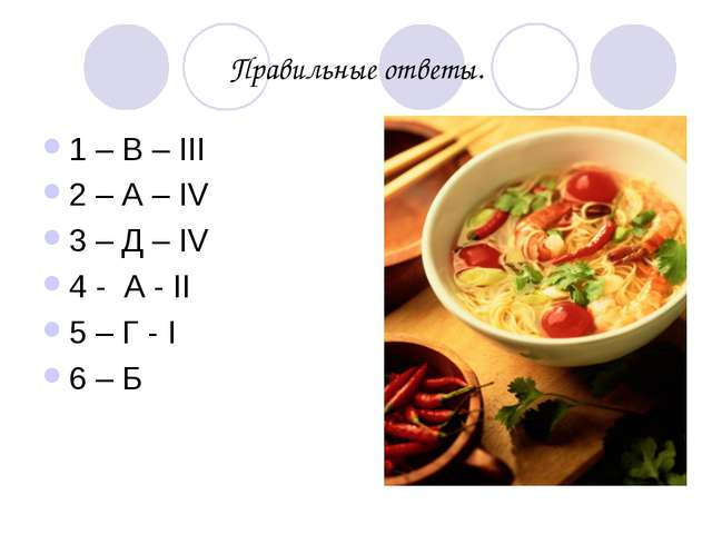 Правильные ответы. 1 – В – III 2 – А – IV 3 – Д – IV 4 - А - II 5 – Г - I 6 – Б