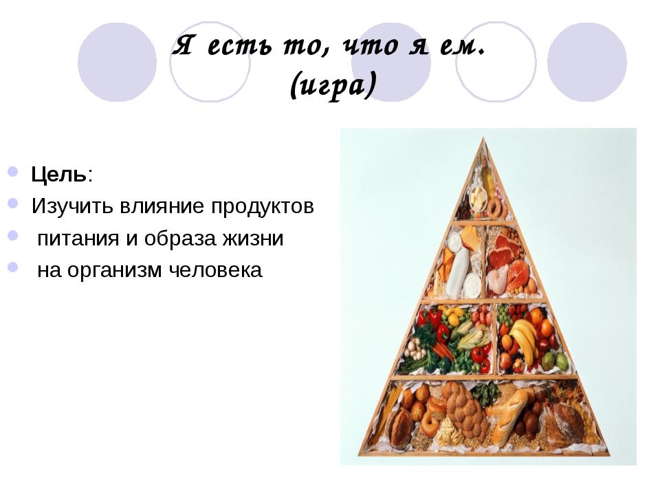 Я есть то, что я ем. (игра) Цель: Изучить влияние продуктов питания и образа...