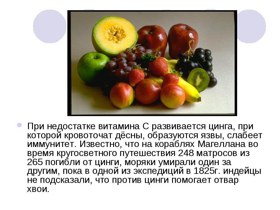 При недостатке витамина С развивается цинга, при которой кровоточат дёсны, об...