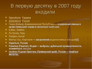 В первую десятку в 2007 году входили Чернобыль, Украина Дзержинск, Россия Гаи