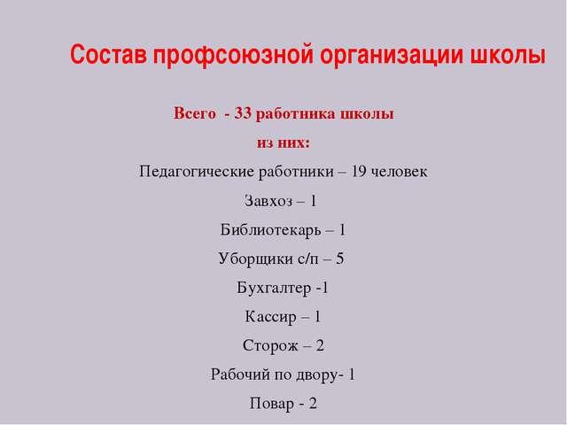 Состав профсоюзной организации школы Всего - 33 работника школы из них: Педаг...