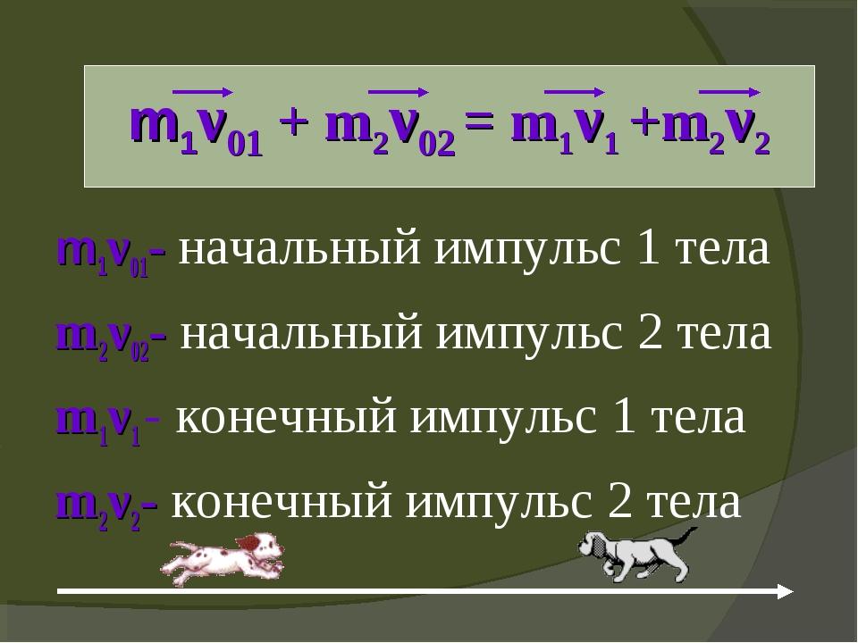 m1ν01 + m2ν02 = m1ν1 +m2ν2 m1ν01- начальный импульс 1 тела m2ν02- начальный...