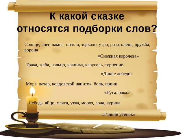 К какой сказке относятся подборки слов? Солнце, снег, лампа, стекло, зеркало...
