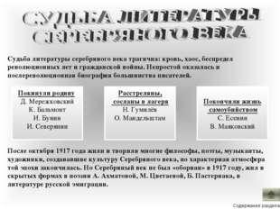 Покинули родину Д. Мережковский К. Бальмонт И. Бунин И. Северянин Судьба лит