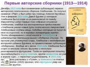 Первые авторские сборники (1913—1914) Декабрь 1913 года был ознаменован публи
