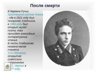 После смерти В деревне Ручьи Крестецкого района Новгородской области, где в 1