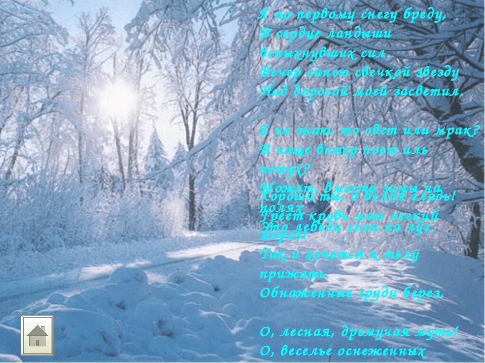 Я по первому снегу бреду, В сердце ландыши вспыхнувших сил. Вечер синею свечк...