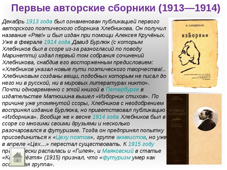 Первые авторские сборники (1913—1914) Декабрь 1913 года был ознаменован публи...
