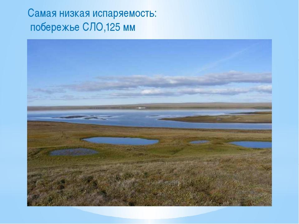 Самая низкая испаряемость: побережье СЛО,125 мм