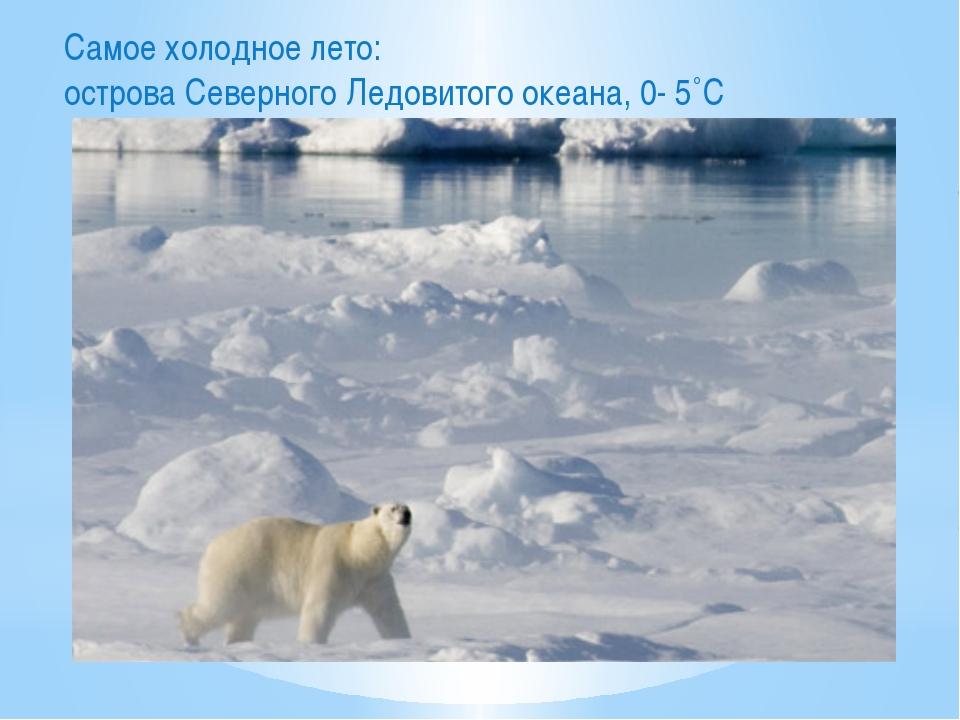 Самое холодное лето: острова Северного Ледовитого океана, 0- 5˚С