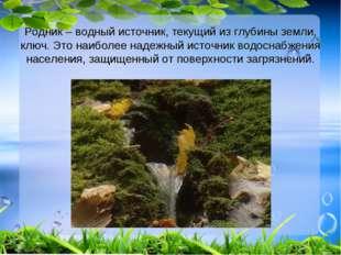 Родник – водный источник, текущий из глубины земли, ключ. Это наиболее надежн