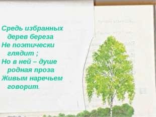 Средь избранных дерев береза Не поэтически глядит ; Но в ней – душе родная пр