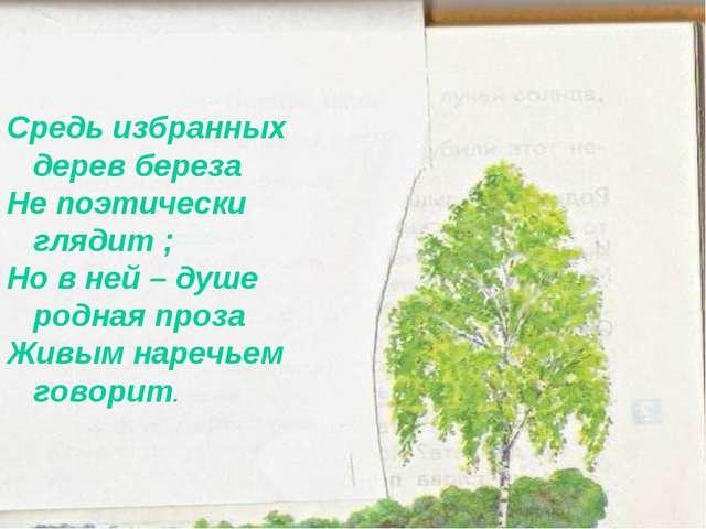 Средь избранных дерев береза Не поэтически глядит ; Но в ней – душе родная пр...