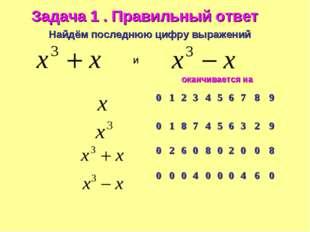 Найдём последнюю цифру выражений и Задача 1 . Правильный ответ оканчивается н