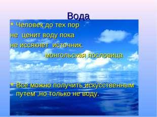 Вода Человек до тех пор не ценит воду пока не иссякнет источник. монгольская