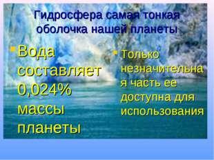 Гидросфера самая тонкая оболочка нашей планеты Вода составляет 0,024% массы п