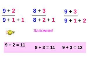 Запомни! 9 + 1 + 1 8 + 2 + 1 9 + 3 9 + 1 + 2 9 + 2 8 + 3 9 + 2 = 11 8 + 3 = 1