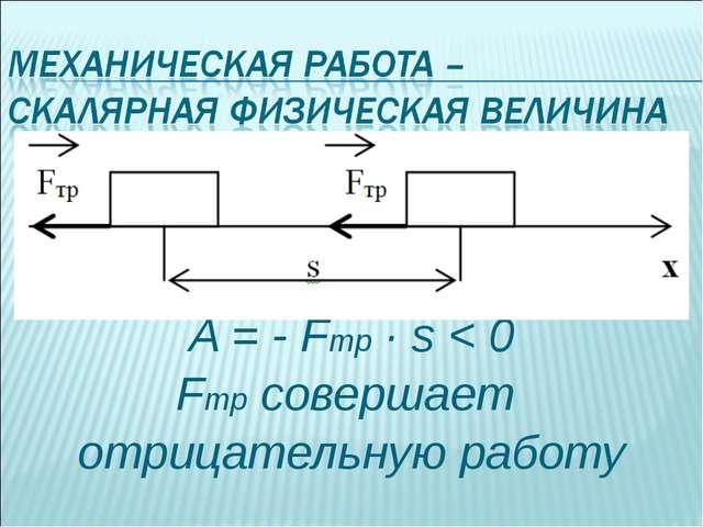 A = - Fтр · s < 0 Fтр совершает отрицательную работу