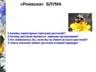 «Ромашка» БЛУМА 1.Каковы характерные признаки растений? 2.Почему растения яв