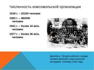 1918 г. – 22100 человек 1920 г. – 482000 человек 1941 г. – более 10 млн. чело