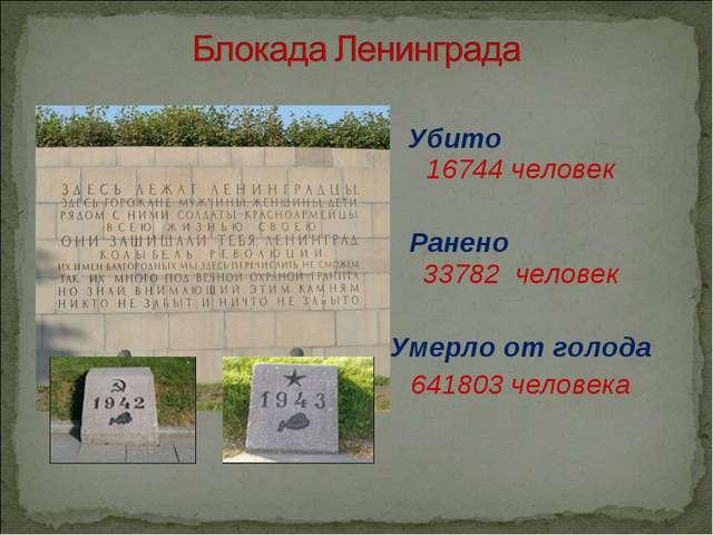 Убито 16744 человек Ранено 33782 человек Умерло от голода 641803 человека
