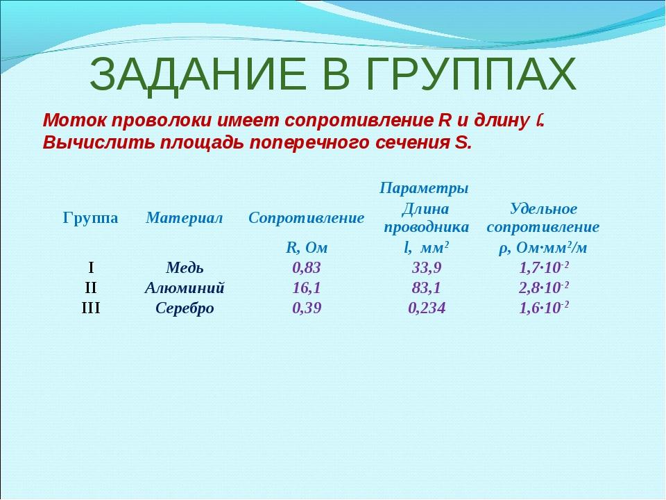 ЗАДАНИЕ В ГРУППАХ Моток проволоки имеет сопротивление R и длину l. Вычислить...