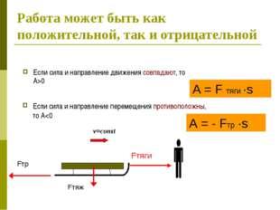 Работа может быть как положительной, так и отрицательной Если сила и направле