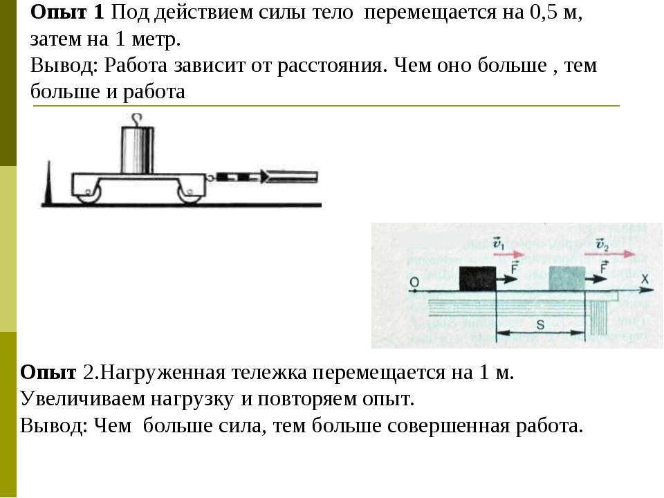 Опыт 1 Под действием силы тело перемещается на 0,5 м, затем на 1 метр. Вывод:...
