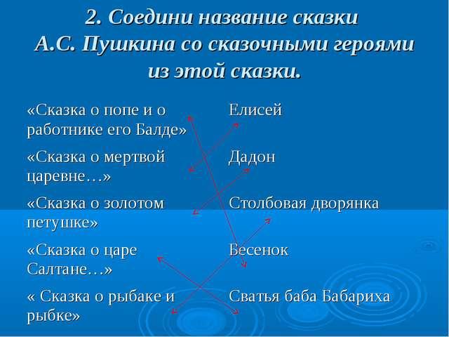 2. Соедини название сказки А.С. Пушкина со сказочными героями из этой сказки....