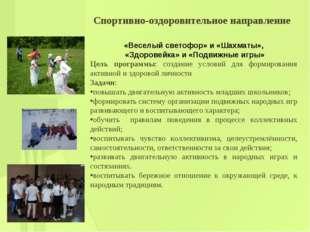 Спортивно-оздоровительное направление «Веселый светофор» и «Шахматы», «Здоров