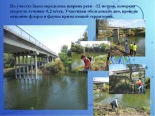 На участке была определена ширина реки -12 метров, измерена скорость течения