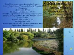 Река Миус протекает по Донецкой и Луганской области Украины и по Ростовской