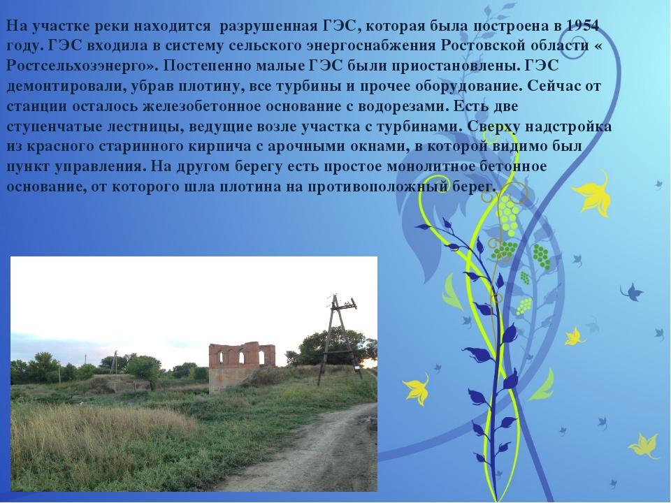 На участке реки находится разрушенная ГЭС, которая была построена в 1954 год...