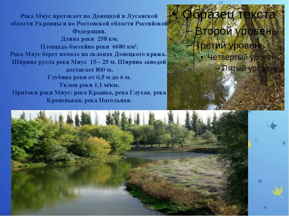 Река Миус протекает по Донецкой и Луганской области Украины и по Ростовской...
