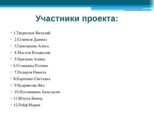 Участники проекта: 1.Тверитнев Виталий 2.Семёнов Даниил 3.Григорьева Алиса 4.