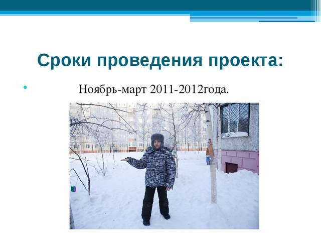 Сроки проведения проекта: Ноябрь-март 2011-2012года.