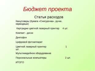 Бюджет проекта Статья расходов  Канцтовары (бумага «Снегурочка», ручки, кара