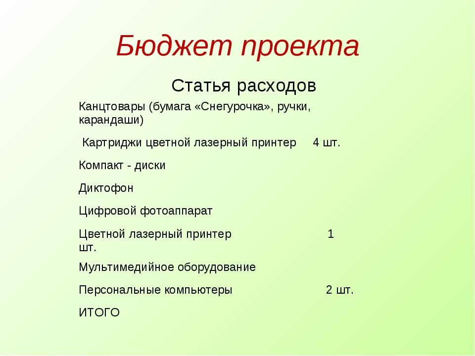 Бюджет проекта Статья расходов  Канцтовары (бумага «Снегурочка», ручки, кара...